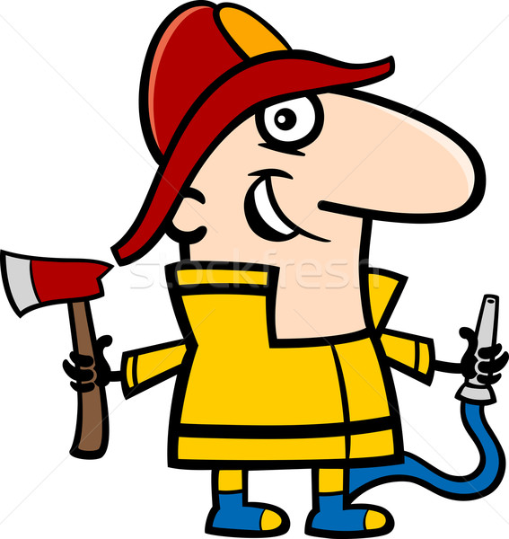 fireman cartoon illustration Stock photo © izakowski