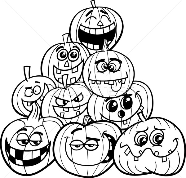 Stock photo: halloween pumpkins coloring page