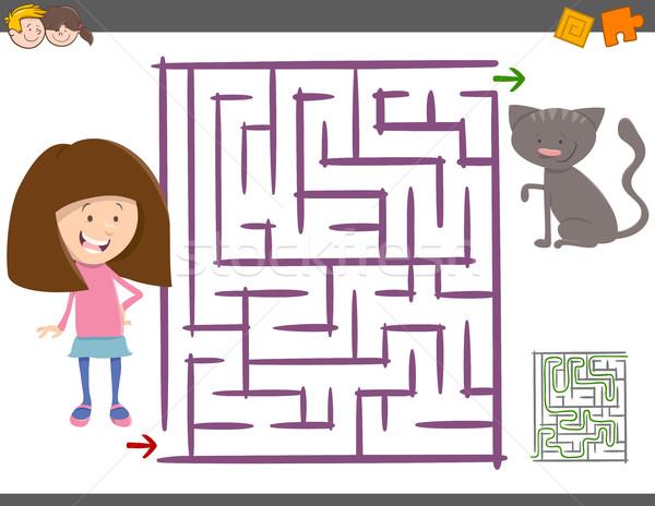 лабиринт деятельность детей Cartoon иллюстрация образование Сток-фото © izakowski