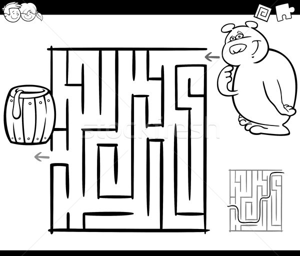 Labirinto orso pagina bianco nero cartoon illustrazione Foto d'archivio © izakowski