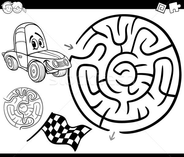 Сток-фото: лабиринт · автомобилей · страница · черно · белые · Cartoon · иллюстрация