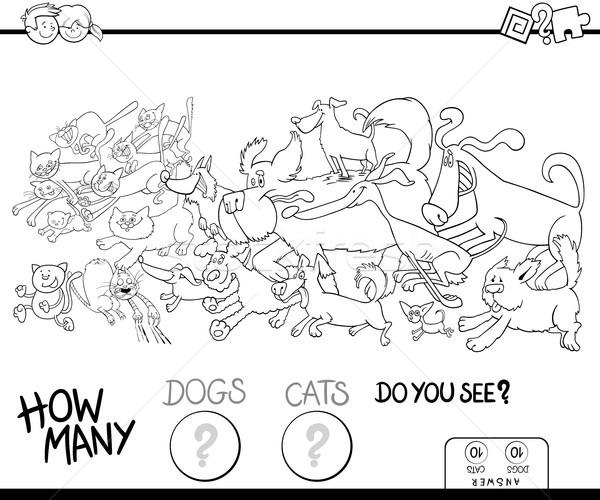 how many dogs and cats color book Stock photo © izakowski