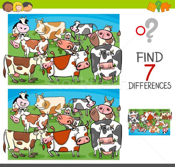 Talál különbségek tehenek haszonállat betűk rajz Stock fotó © izakowski