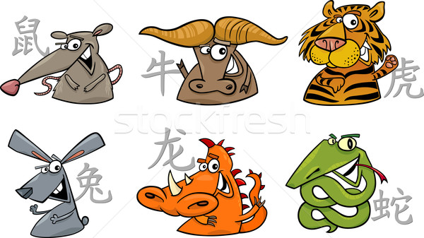 six chinese zodiac signs Stock photo © izakowski