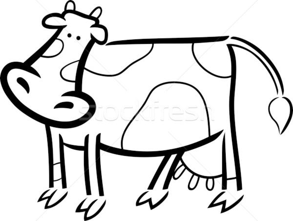 cartoon doodle of farm cow for coloring Stock photo © izakowski