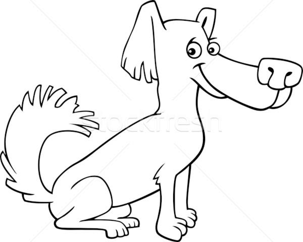 little shaggy dog cartoon for coloring book Stock photo © izakowski