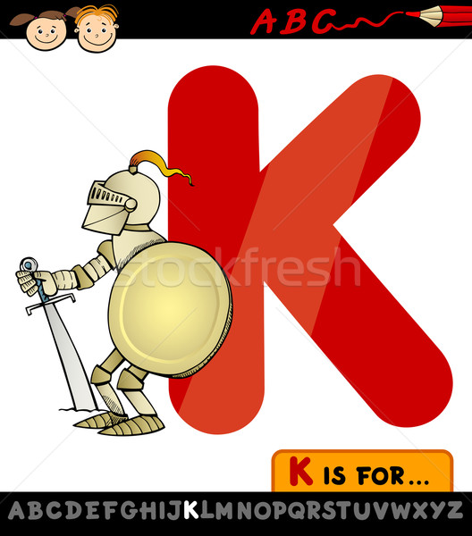 letter k for knight cartoon illustration Stock photo © izakowski