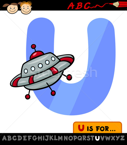 Carta ufo Cartoon ilustración alfabeto Foto stock © izakowski