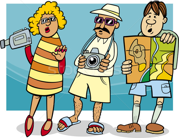 tourist group cartoon illustration Stock photo © izakowski