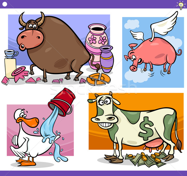 cartoon sayings or proverbs concepts set Stock photo © izakowski
