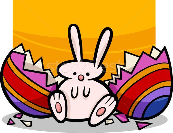sweet easter bunny cartoon illustration Stock photo © izakowski