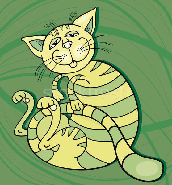 Happy Green Cat Stock photo © izakowski