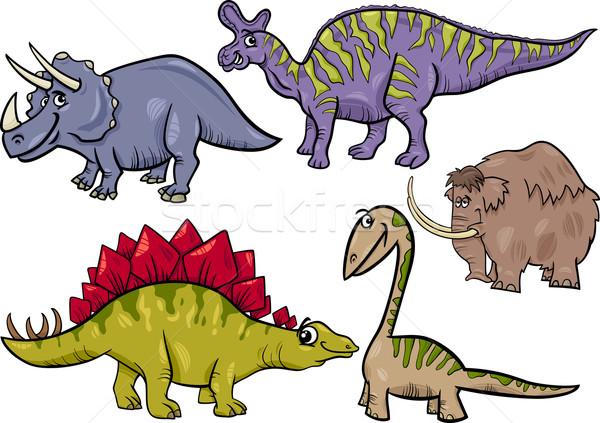 prehistoric set cartoon illustration Stock photo © izakowski