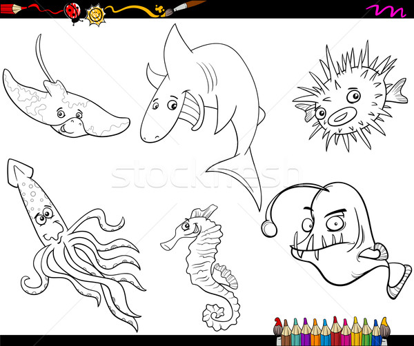 sea life cartoon coloring page Stock photo © izakowski