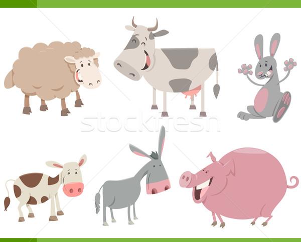 cartoon farm animal characters set Stock photo © izakowski