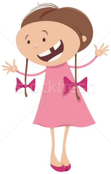 girl with braids cartoon character Stock photo © izakowski