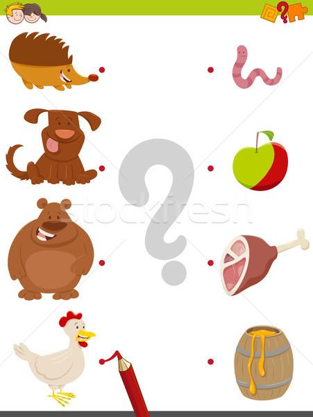 Wedstrijd dieren voedsel spel cartoon illustratie Stockfoto © izakowski