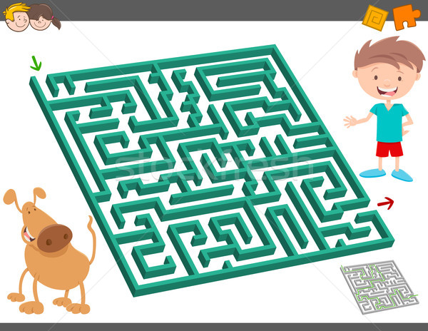 maze leisure activity game for kids Stock photo © izakowski