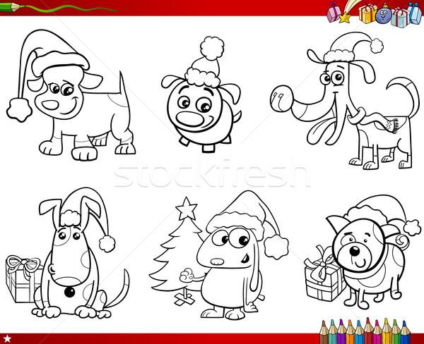 Cartoon honden christmas ingesteld kleurboek illustratie Stockfoto © izakowski