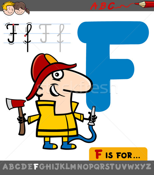 letter f with cartoon fireman Stock photo © izakowski