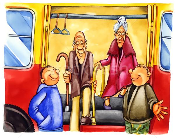 Stockfoto: Jongens · bushalte · schilderij · illustratie · vrouw · jongen
