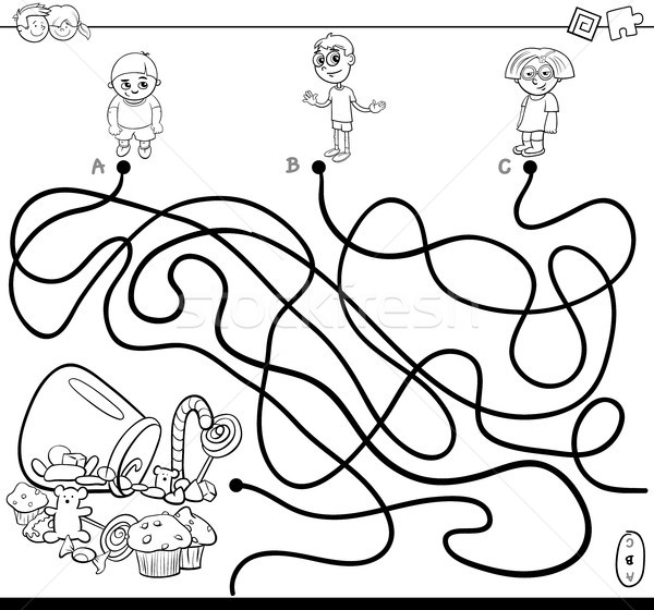 paths maze with kids and candy coloring book vector ...