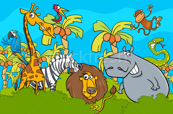 Cartoon Safari groupe illustration Photo stock © izakowski