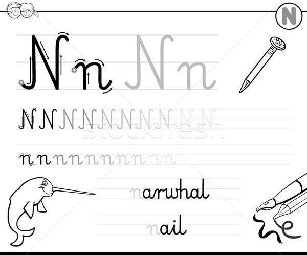 learn to write letter N workbook for kids Stock photo © izakowski