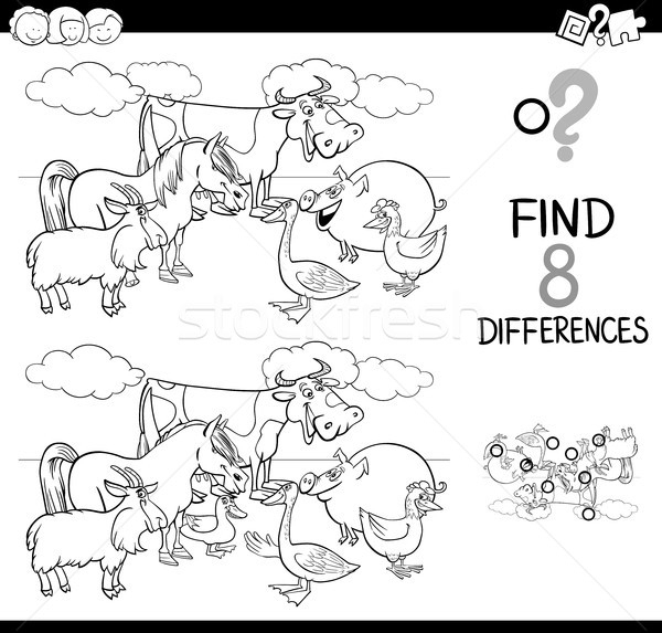 differences activity with farm animals color book Stock photo © izakowski