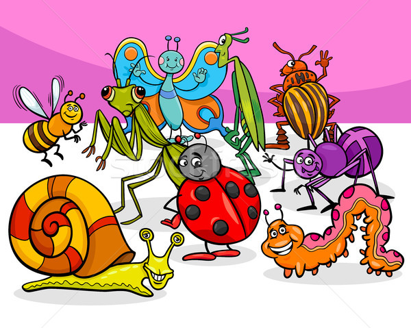 cartoon insects and bugs characters group Stock photo © izakowski