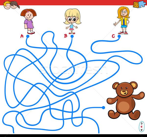 paths maze game with girls and teddy Stock photo © izakowski