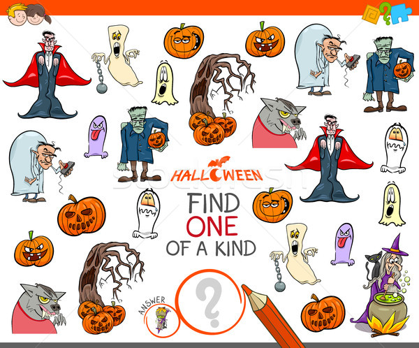 one of a kind activity game with Halloween characters Stock photo © izakowski