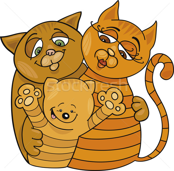 happy cats family Stock photo © izakowski