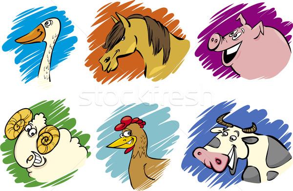 Set of cartoon farm animals Stock photo © izakowski