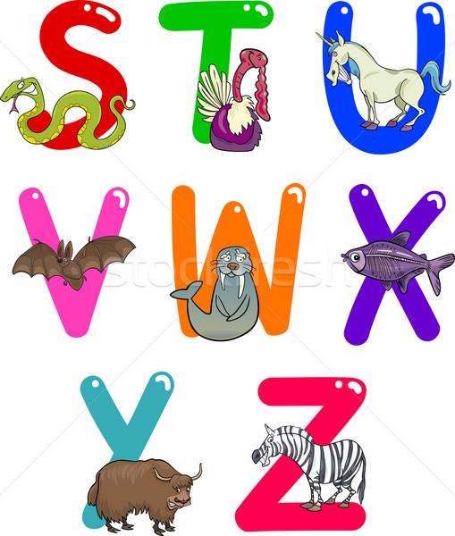 Cartoon алфавит животные красочный набор смешные Сток-фото © izakowski