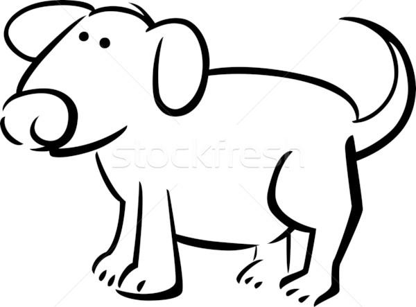 Foto stock: Desenho · animado · rabisco · cão · ilustração · livro · para · colorir · livro