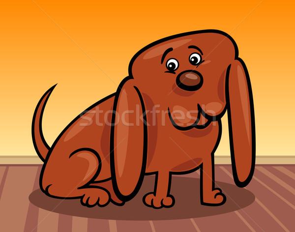 Engraçado pequeno cão desenho animado ilustração enorme Foto stock © izakowski