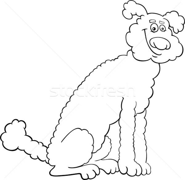 poodle dog cartoon for coloring book Stock photo © izakowski