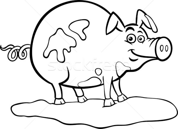 Stock photo: farm pig cartoon for coloring book