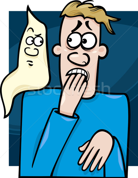 man and ghost cartoon illustration Stock photo © izakowski