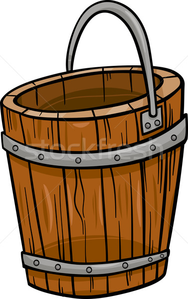 wooden bucket retro cartoon clip art Stock photo © izakowski