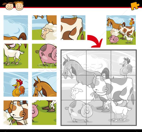 Cartoon сельскохозяйственных животных иллюстрация образование игры Сток-фото © izakowski