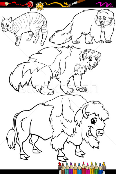 animals set cartoon coloring book Stock photo © izakowski