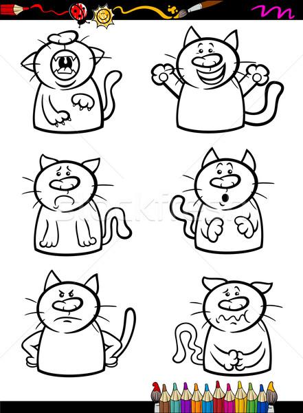 cats emotion set cartoon coloring book Stock photo © izakowski