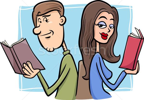 couple in love cartoon illustration Stock photo © izakowski
