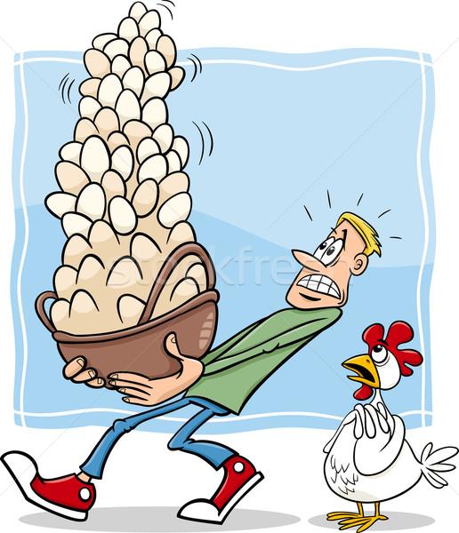 Alle eieren een mand cartoon humor Stockfoto © izakowski