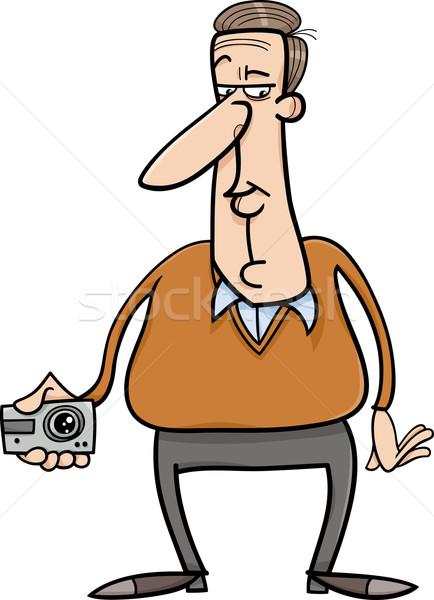 Férfi rejtett kamera rajz illusztráció elvesz Stock fotó © izakowski