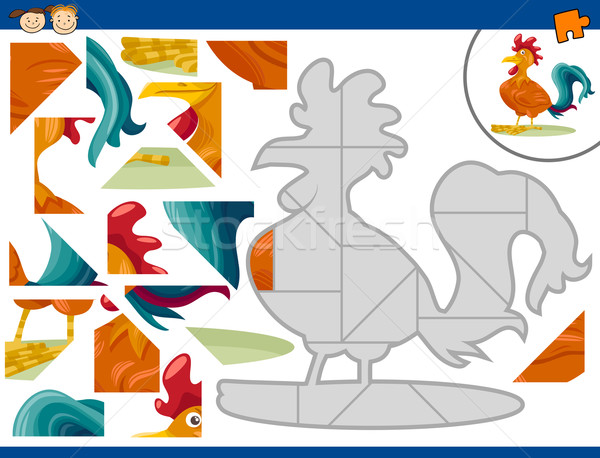cartoon rooster jigsaw puzzle task Stock photo © izakowski