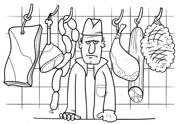 Slager winkel kleurboek zwart wit cartoon illustratie Stockfoto © izakowski