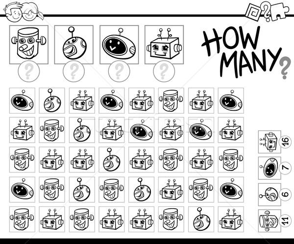 counting robots coloring page Stock photo © izakowski